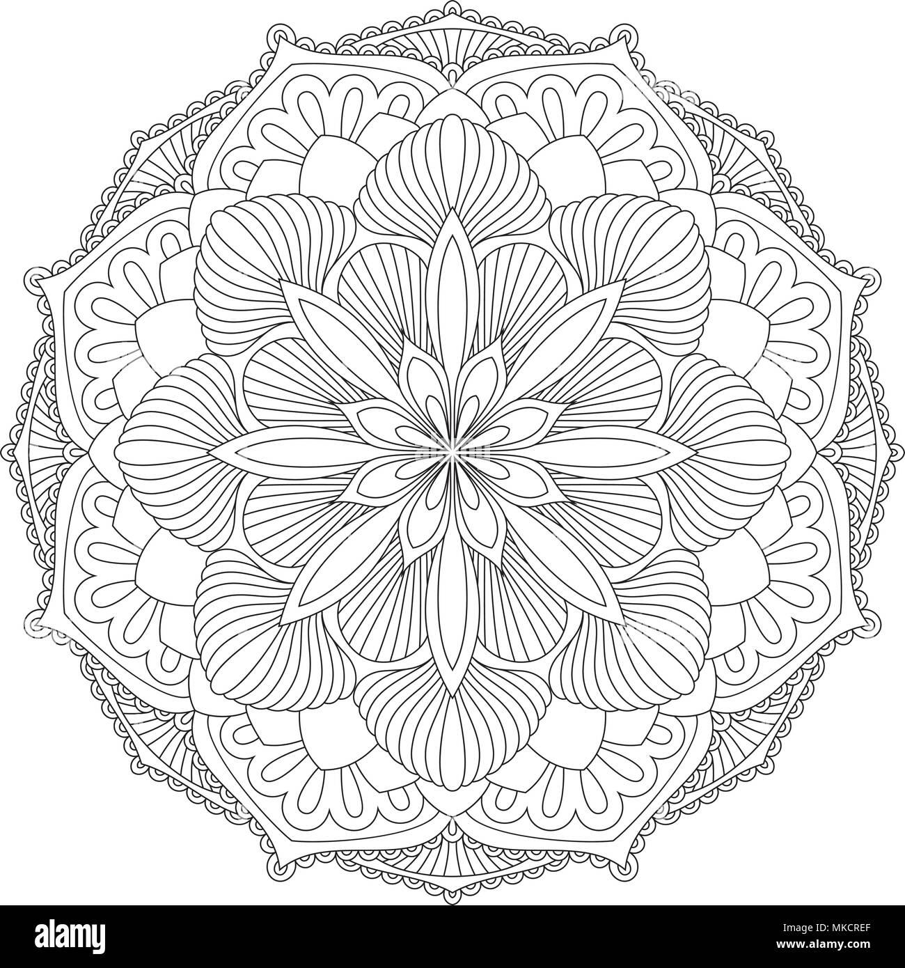 Vector Mandala. Oriental decorative element. Islam, Arabic, Indian, turkish, pakistan, chinese, ottoman motifs. Ethnic design elements. Hand drawn man - Stock Image
