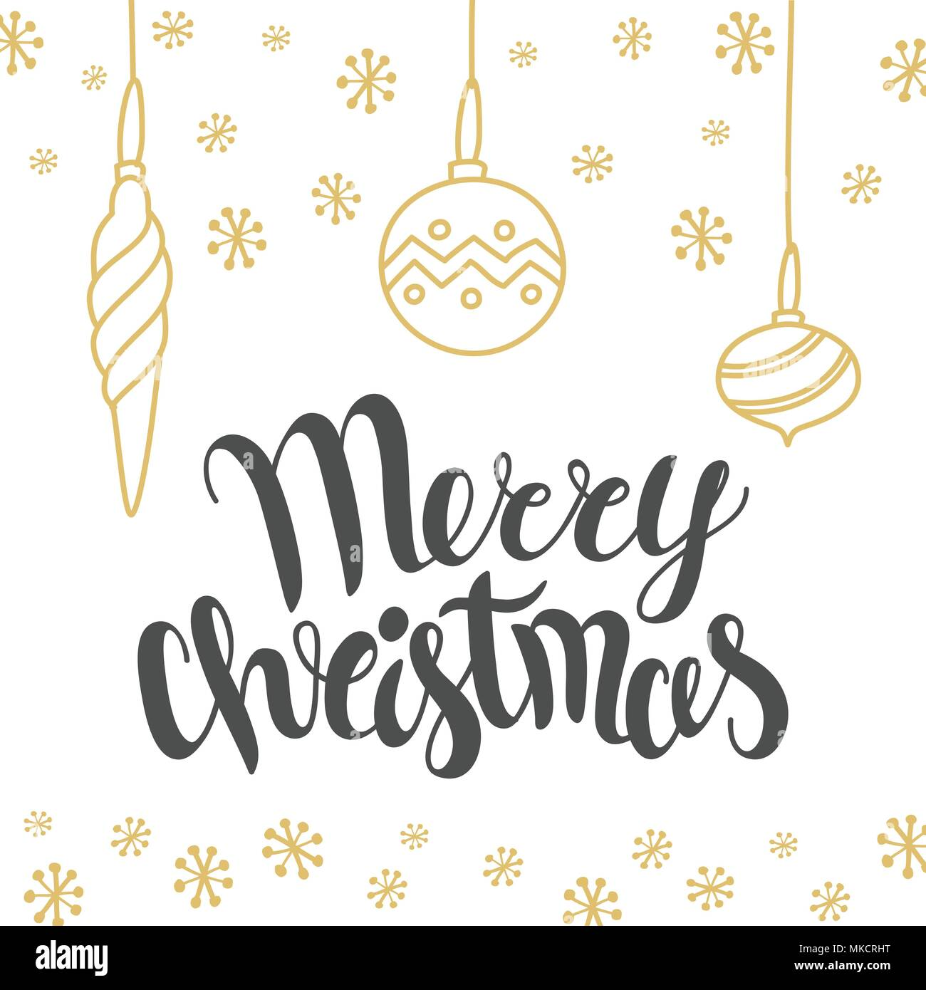 Christmas Card Design With Lettering Merry Christmas And Hand