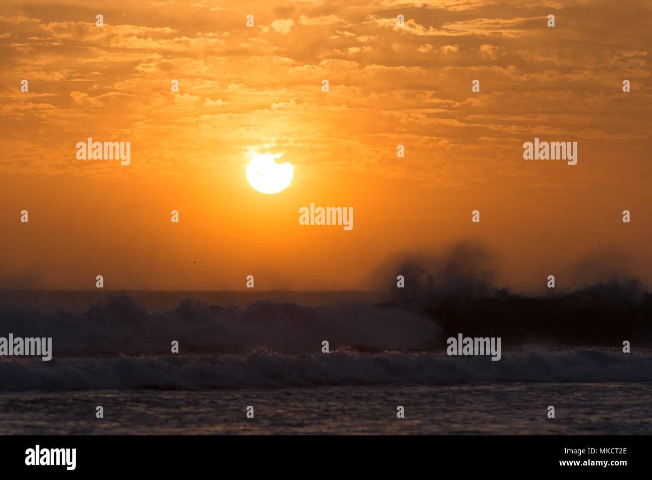 Wave splashing with the sun low over the horizon on the shore of a beach in the south of Spain. - Stock Image