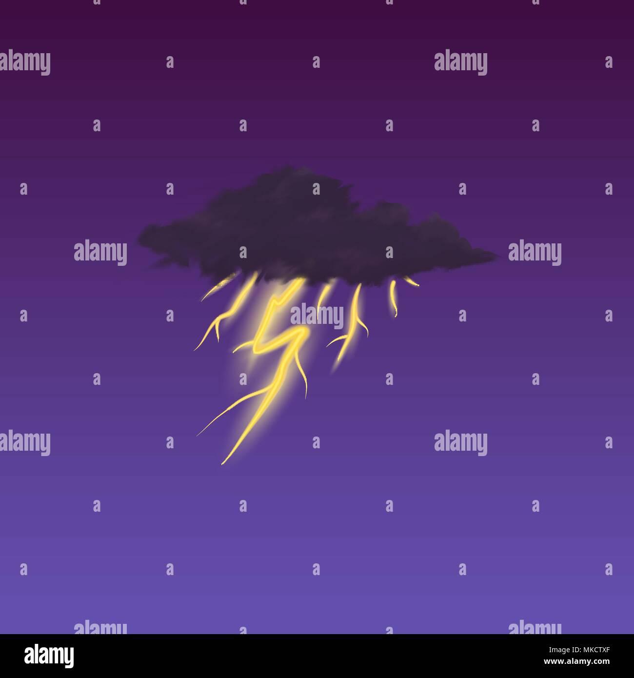 Meteorology Symbol On Dark Background Color Vector Illustration For Mobile App Print Or Web Lightning In The Clouds