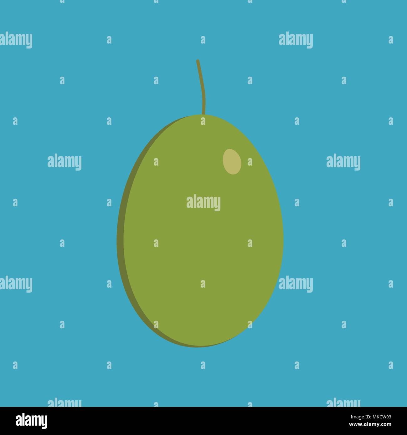 Olive icon in flat long shadow design. - Stock Vector