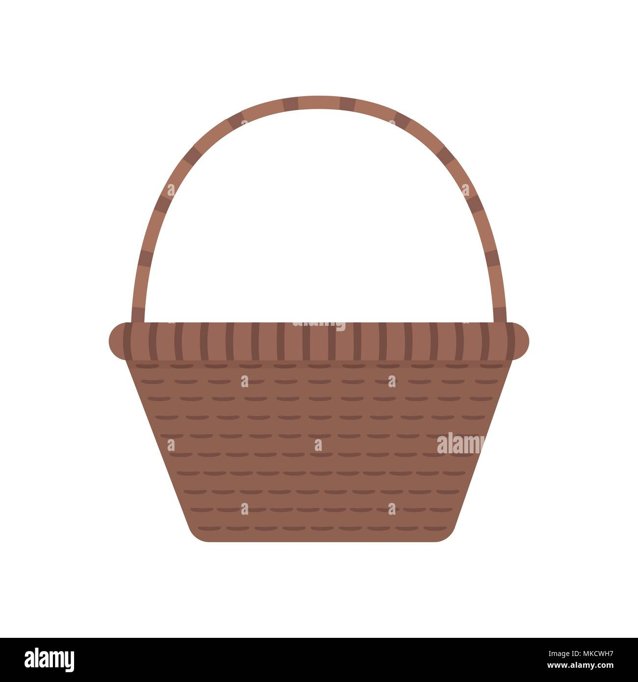 Wicker basket icon in flat design. - Stock Vector