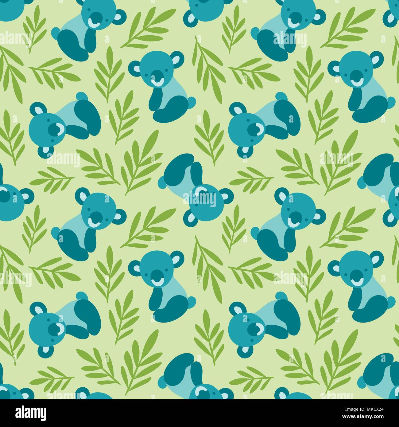 seamless pattern with cute koala bears and leaves repeating