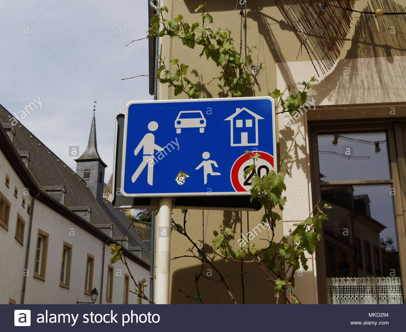 Traffic signage for residential area and children at play, Grund, Luxembourg City - Stock Image