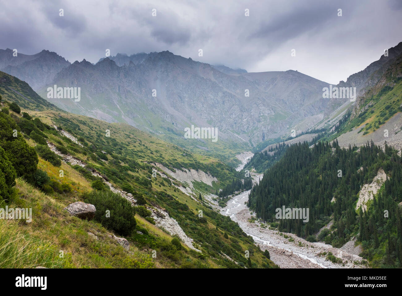 Mountains of Ala Archa National Park under a stormy sky, Bishkek, Kyrgyzstan Stock Photo