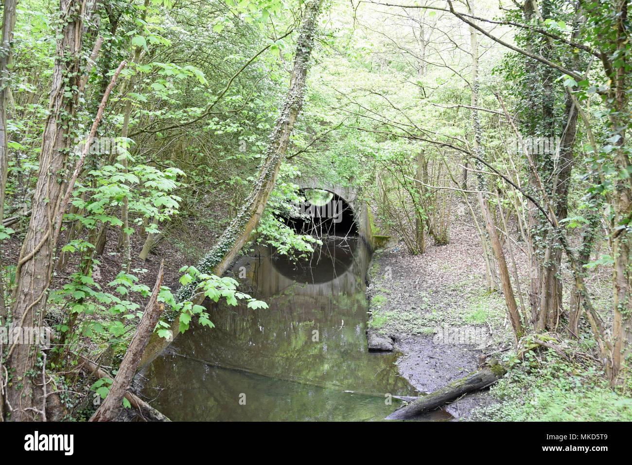 River Alder Bourne tunnel alongside the London M25 Orbital Motorway - Stock Image