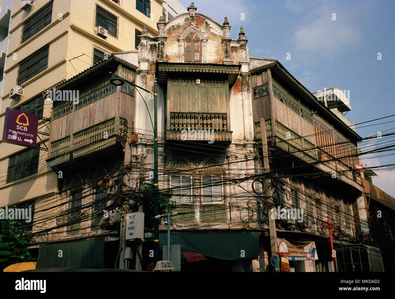 Thai Buildings - Shophouse building in Chinatown in Bangkok in Thailand in Southeast Asia Far East. Shophouses House Chinese Architecture Travel - Stock Image