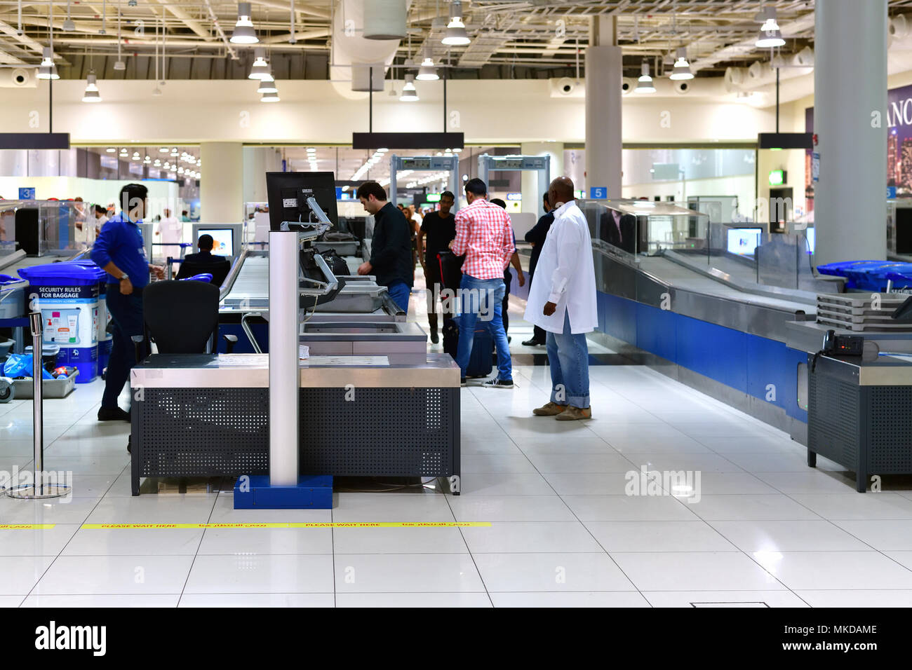 Dubai, UAE - April 10. 2018. pre-flight inspection zone at airport - Stock Image