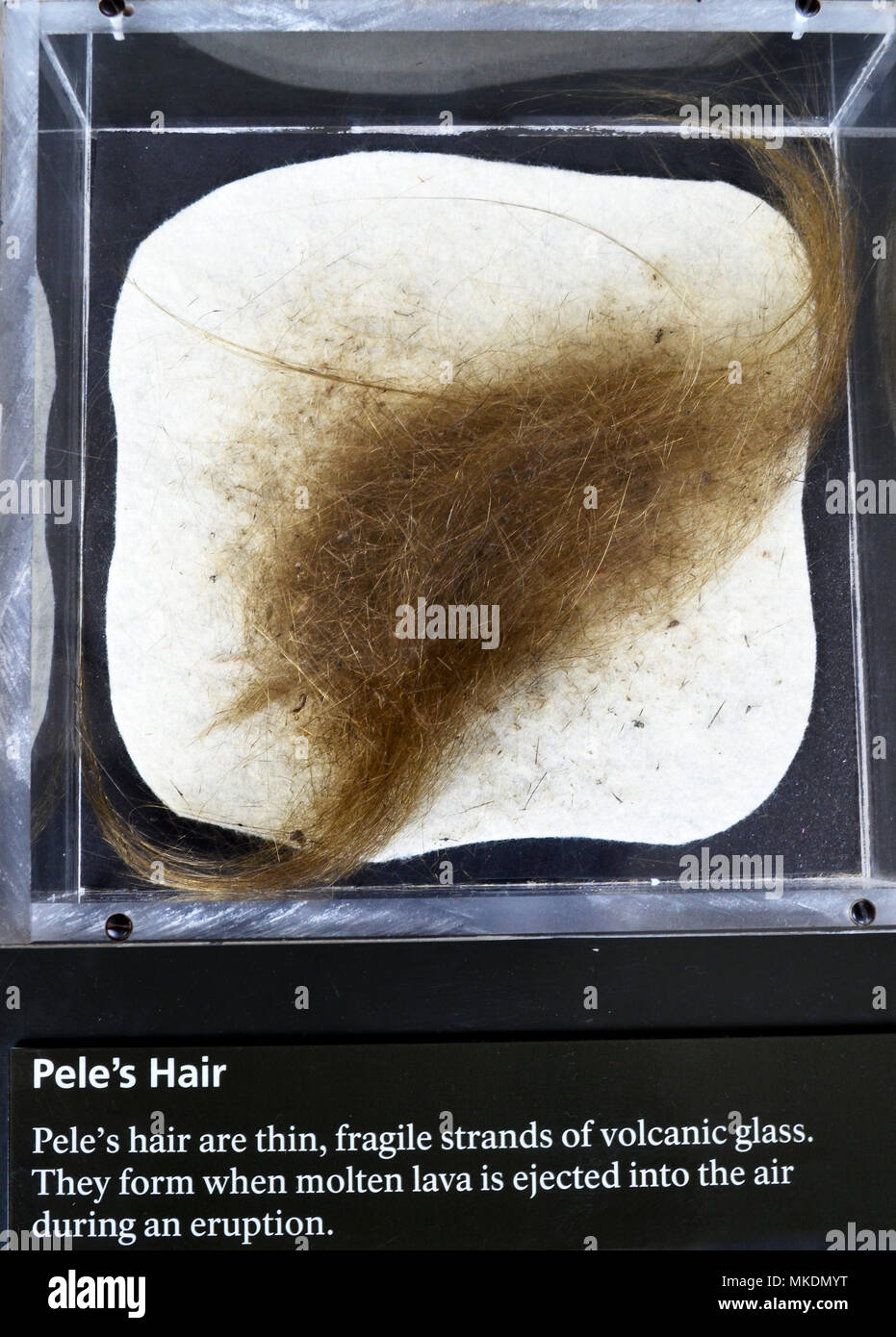 Peles Hair. Strands of volcanic glass that form when molten lava is ejected into the air during an eruption. Stock Photo