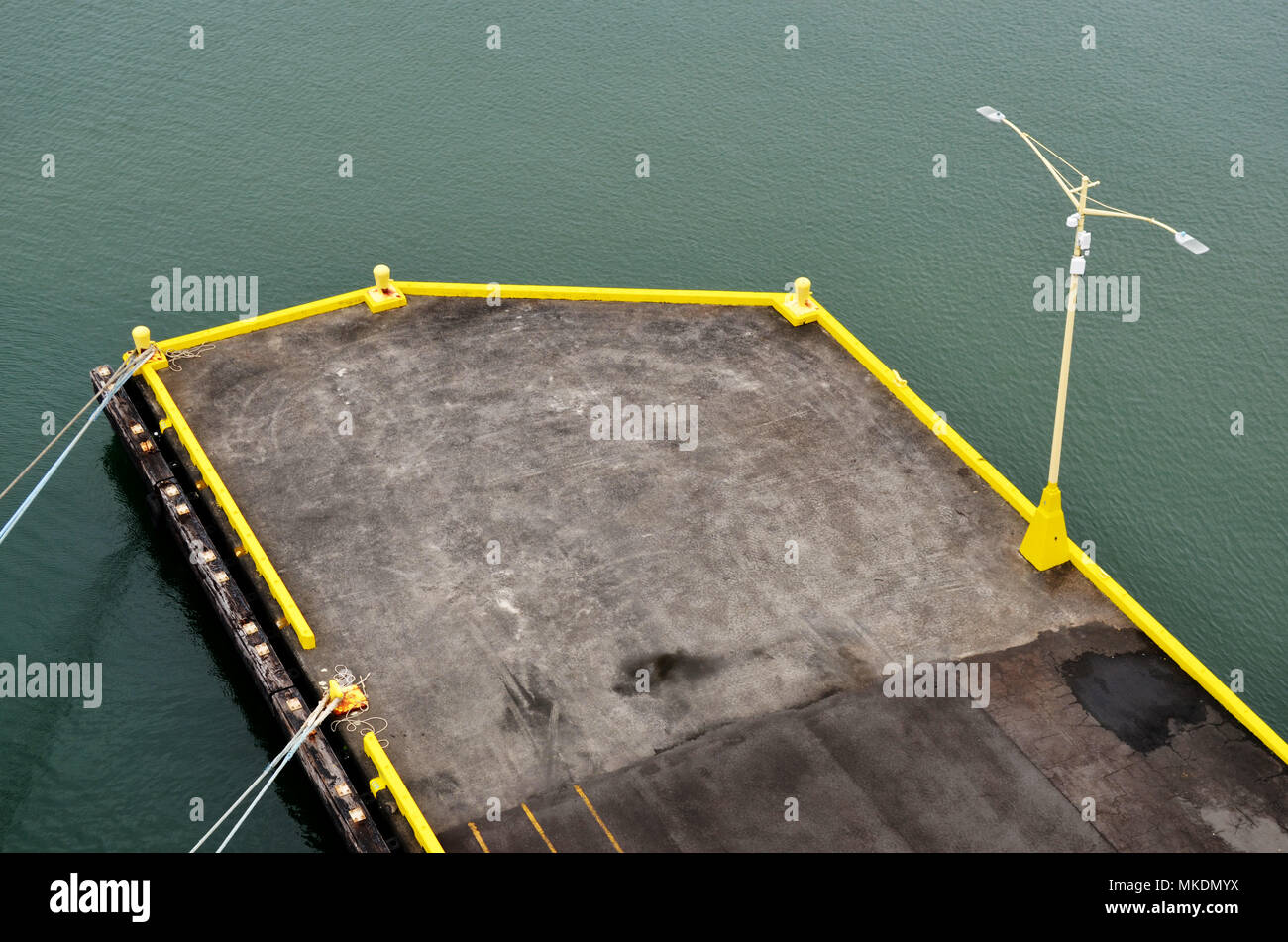 End of dock from above - Stock Image