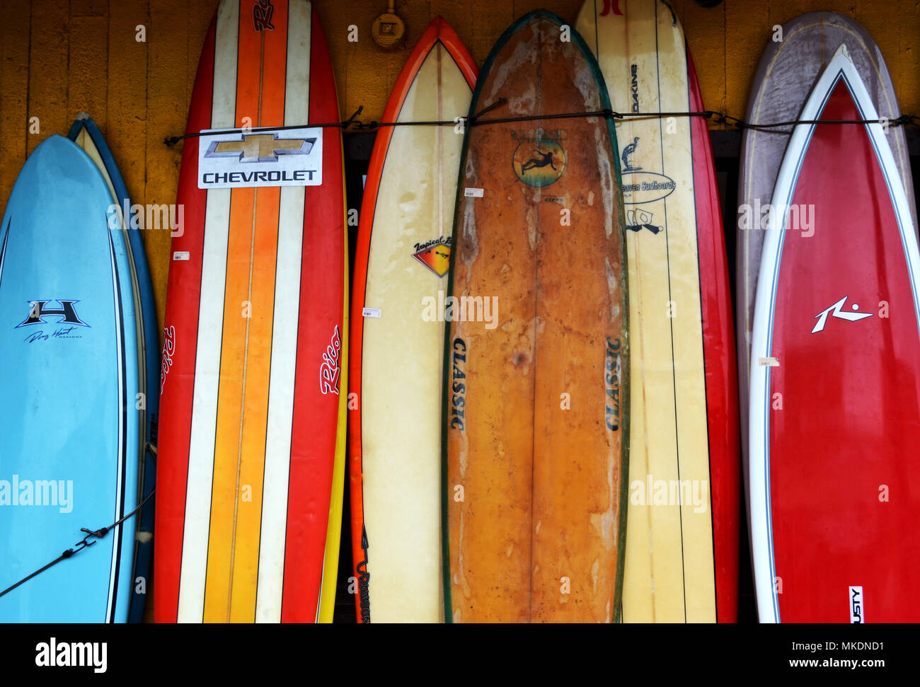 Old Surfboards Leaning Against Wall Stock Photo 184084349 Alamy