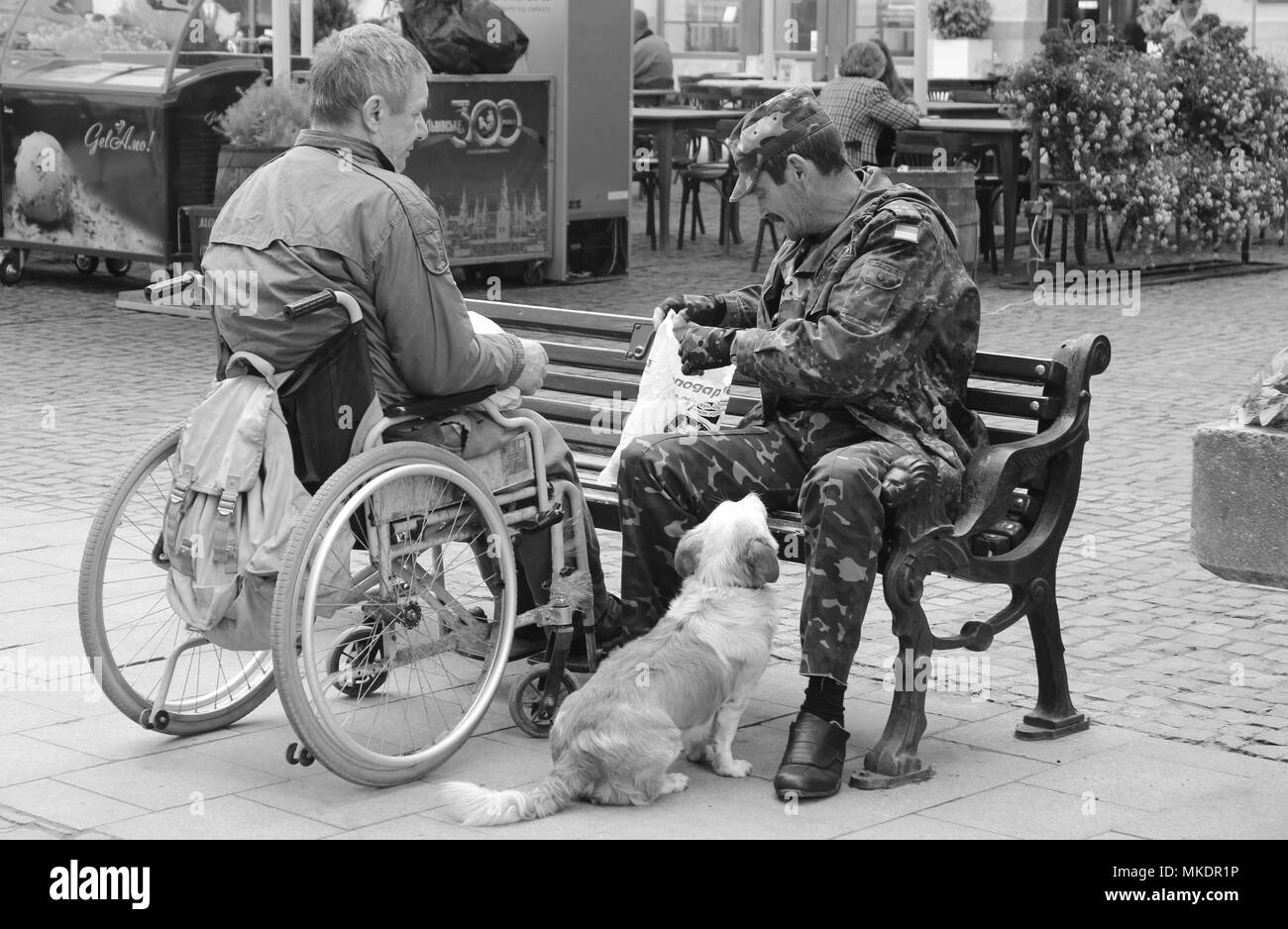 Two Soldiers Share Luch with their Dog - Stock Image