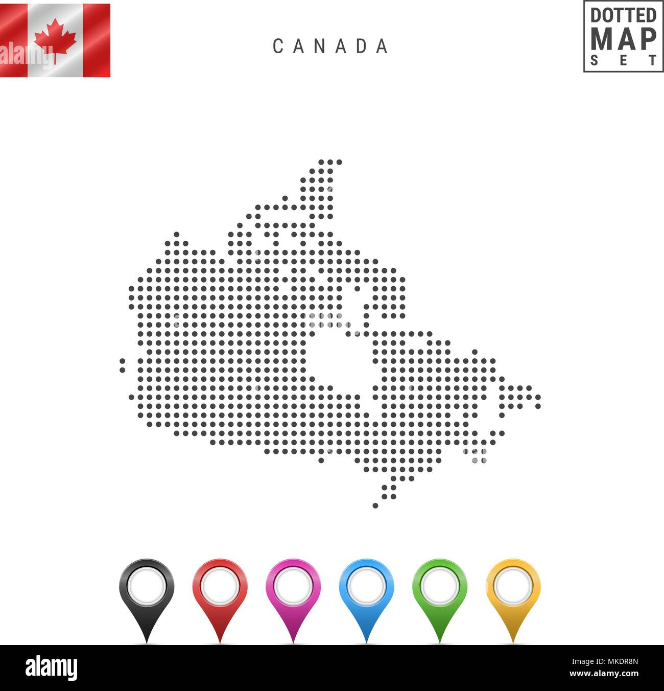 Simple Map Of Canada.Vector Dotted Map Of Canada Simple Silhouette Of Canada The