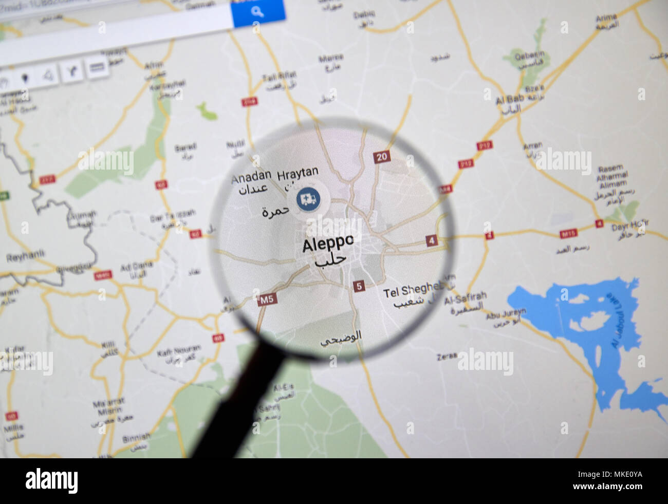 Map of aleppo stock photos map of aleppo stock images alamy montreal canada march 10 2018 aleppo syria on google maps under gumiabroncs Gallery