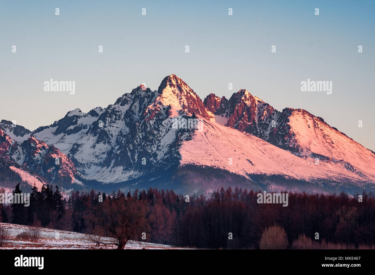 Sunrise in High Tatras - Stock Image