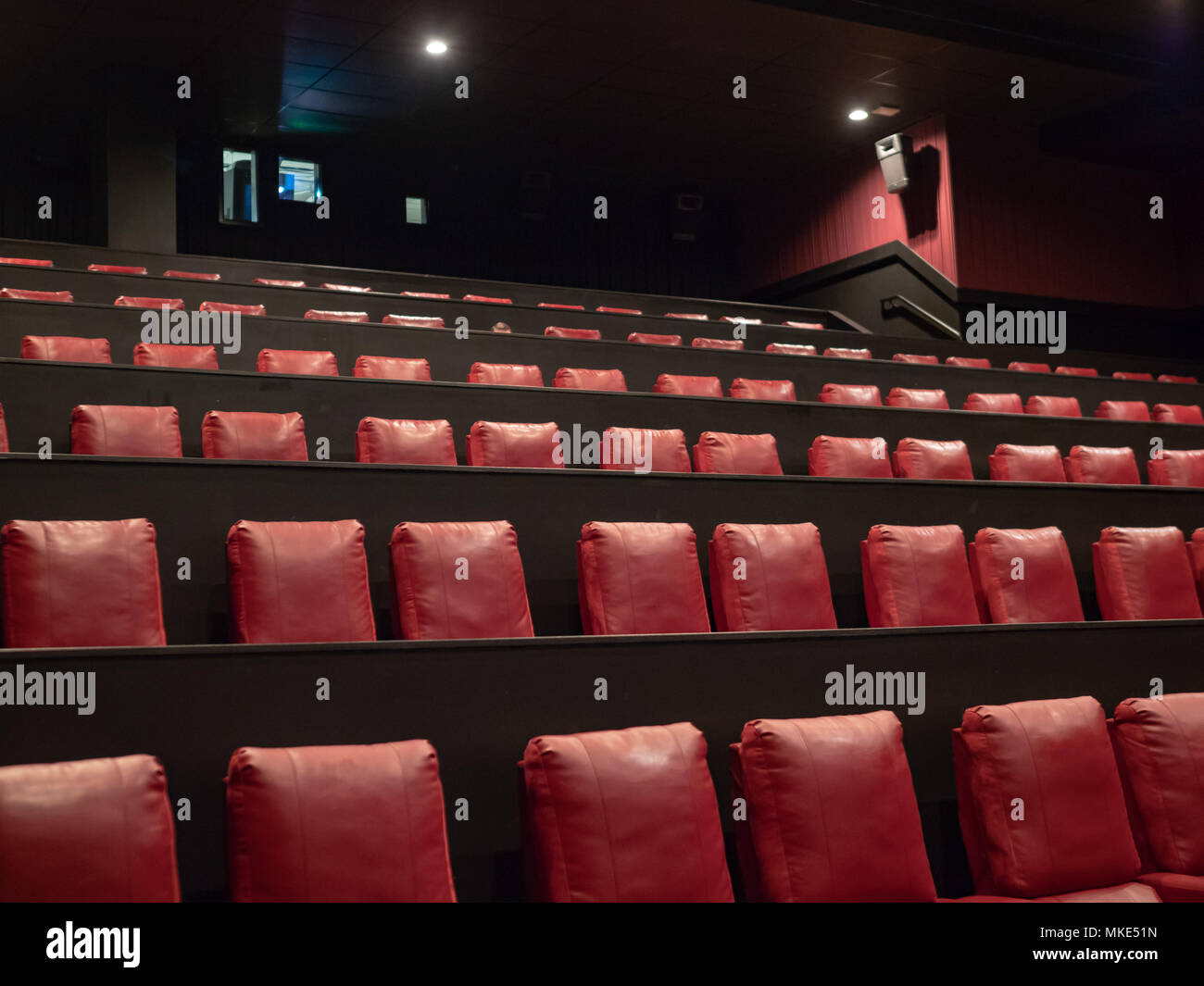 Luxury Red Movie Theater Seats In With A Projector On Background Stock Photo Alamy