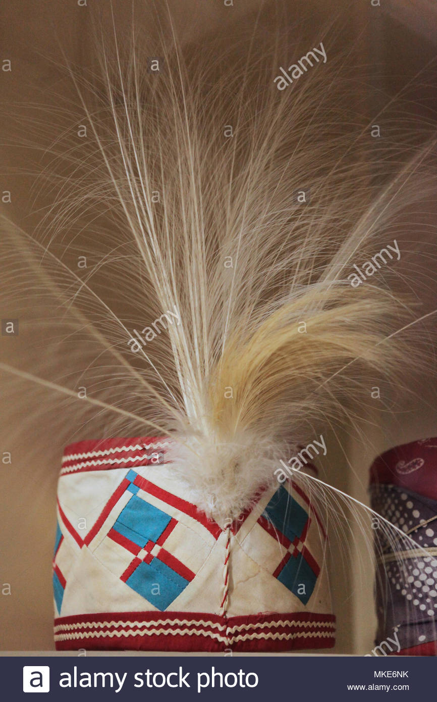 Traditional Native Indian ceremonial headwear worn during special occasions on display in the Seminole Indian Museum at the Miccosukee Seminole Indian - Stock Image