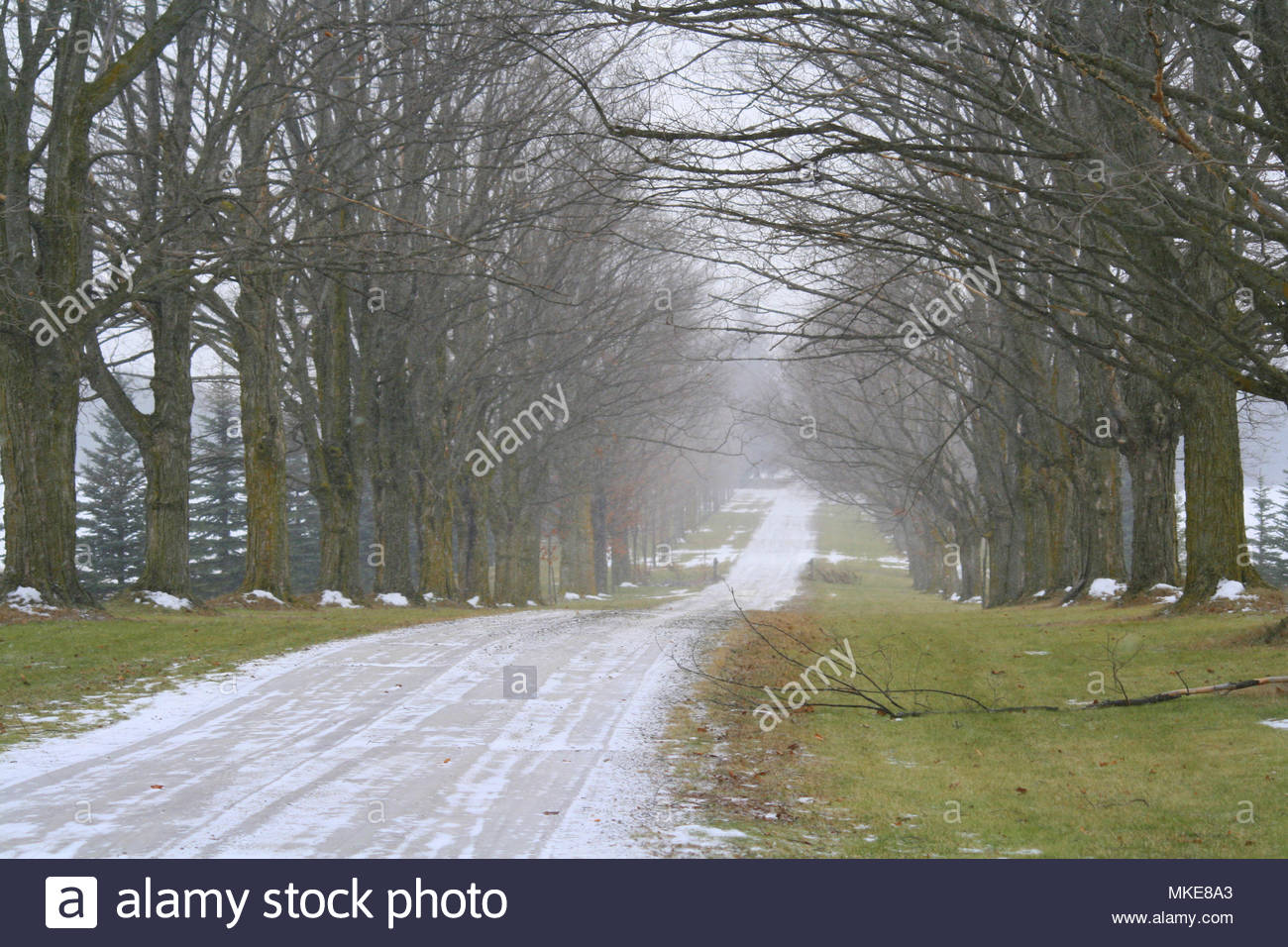 A scenic country road lightly dusted with snow. - Stock Image
