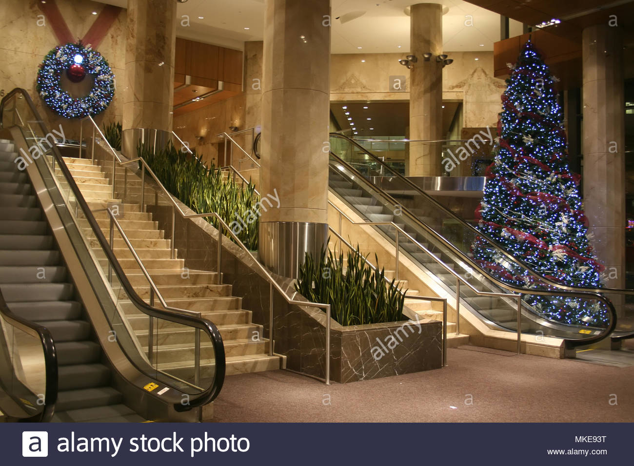 christmas decorations in a grand lobby of a downtown toronto office building