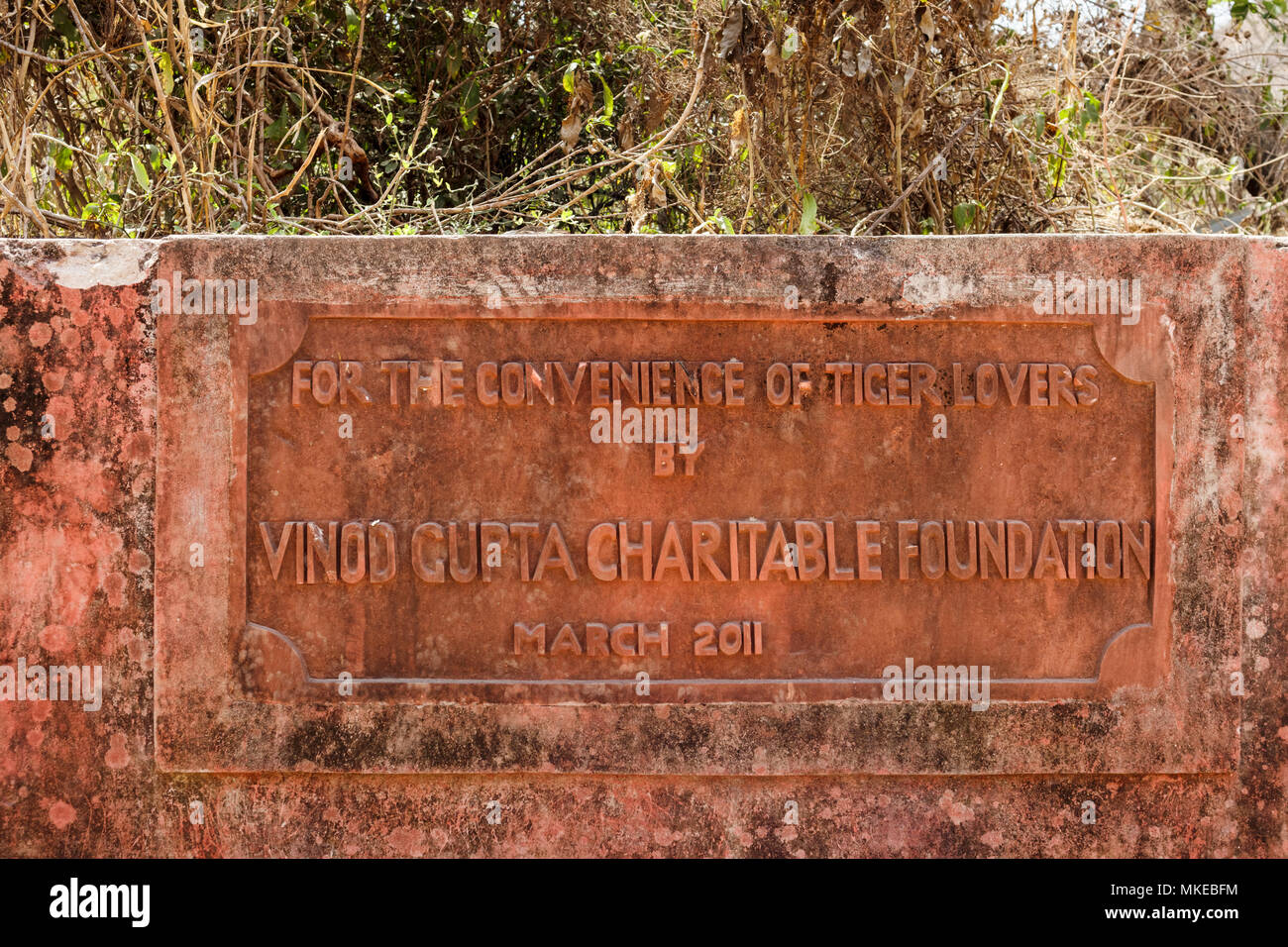 Stone sign inscribed with 'For the convenience of tiger lovers by Vinod Gupta Charitable Foundation', Ranthambore National Park, Rajasthan, India - Stock Image