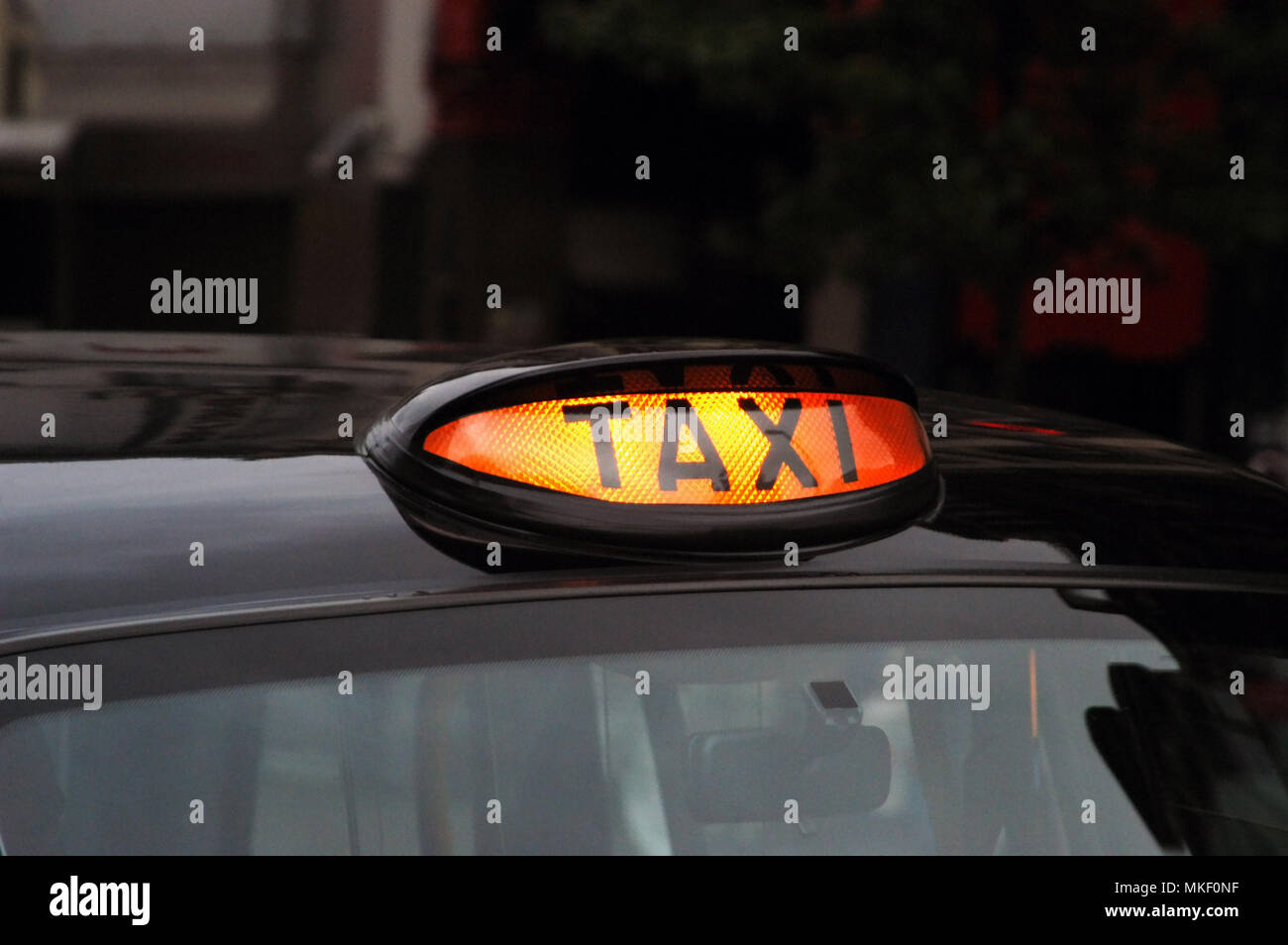 Black Cab Light Close Up Of Sign Meaning Available For Hire On The