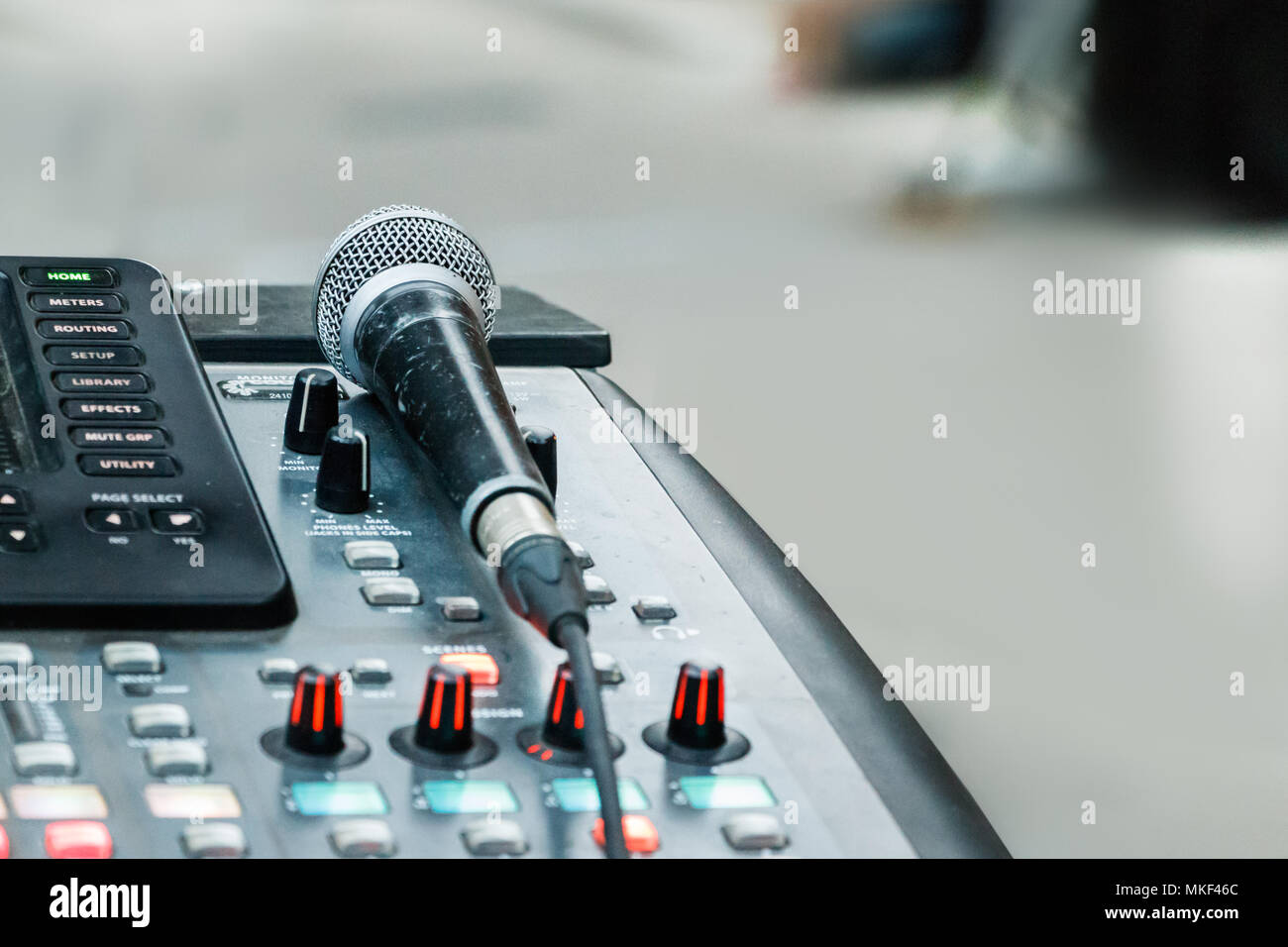 Detail of a sound mixer and a microphone placed outdoors, natural
