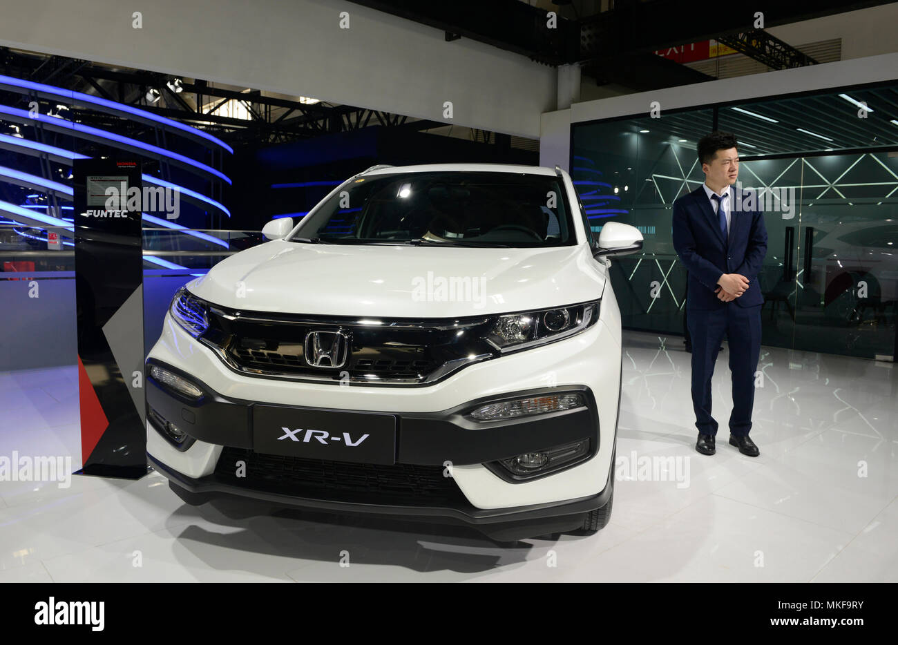 The new Honda XR-V, which is exclusively for the China market, on the Dongfeng Honda stand at the Auto China 2018 motorshow in Beijing - Stock Image