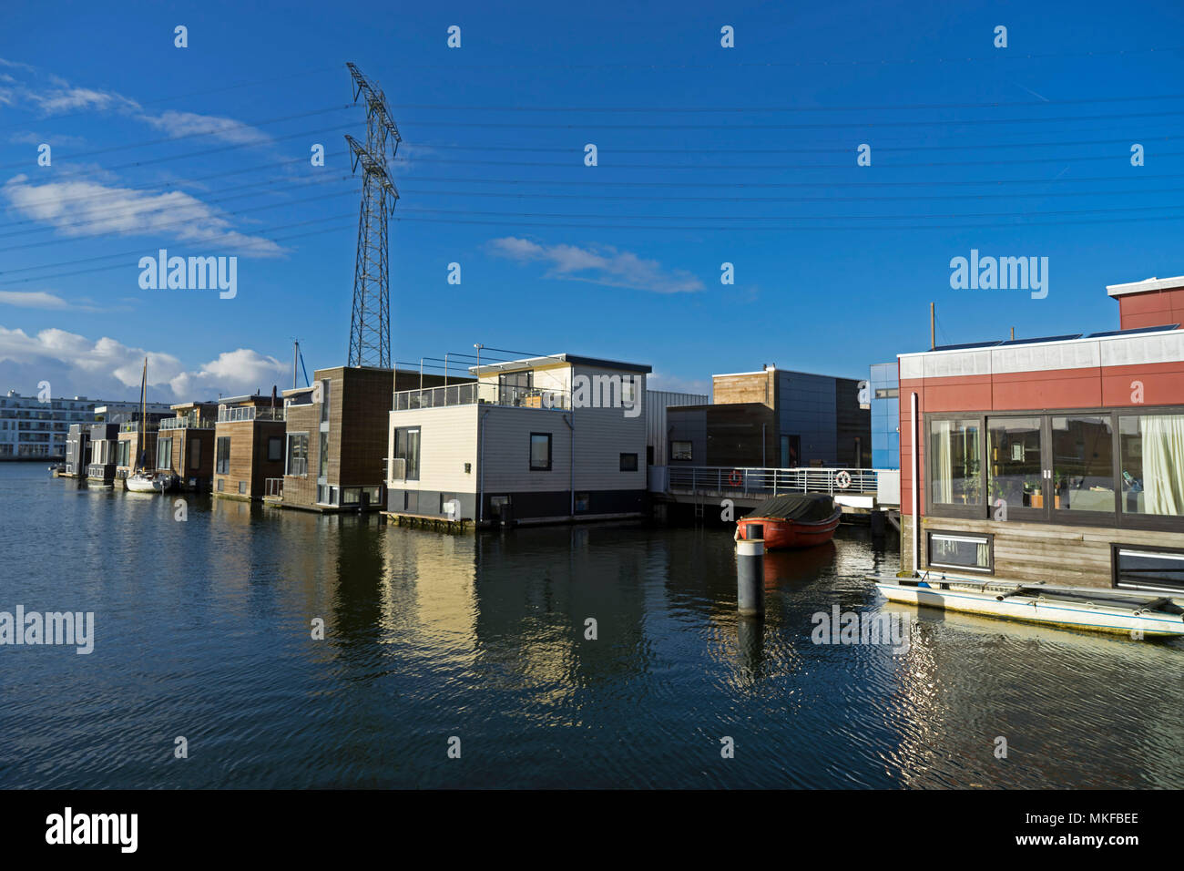Floating house in the Ijburg district of Amsterdam, Holland, Netherlands Stock Photo