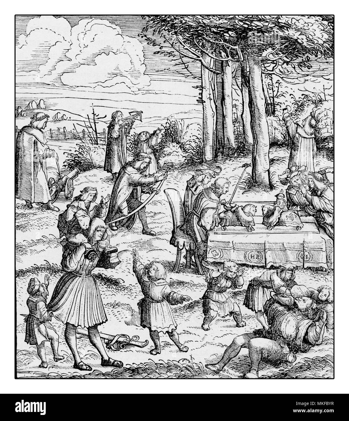 Medieval illustration of children and adults playing outside by Hans Burgkmair, XVI century - Stock Image