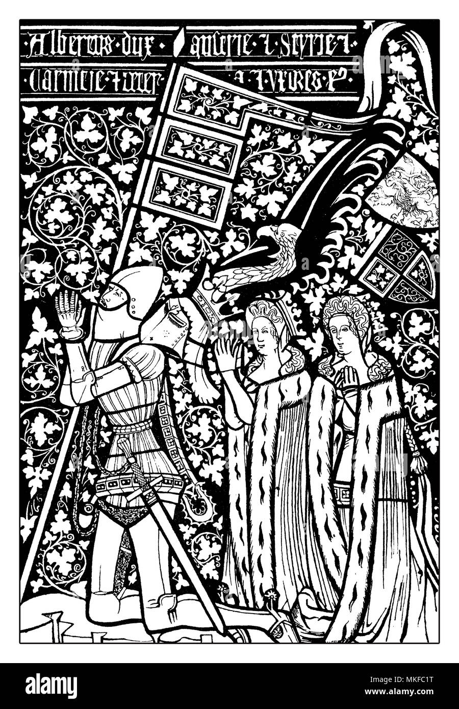 Albert  (Albrecht) III duke of Austria, known as Albert with the Pigtail, member of the House of Habsburg in armor with two of his wives royally clothed - Stock Image