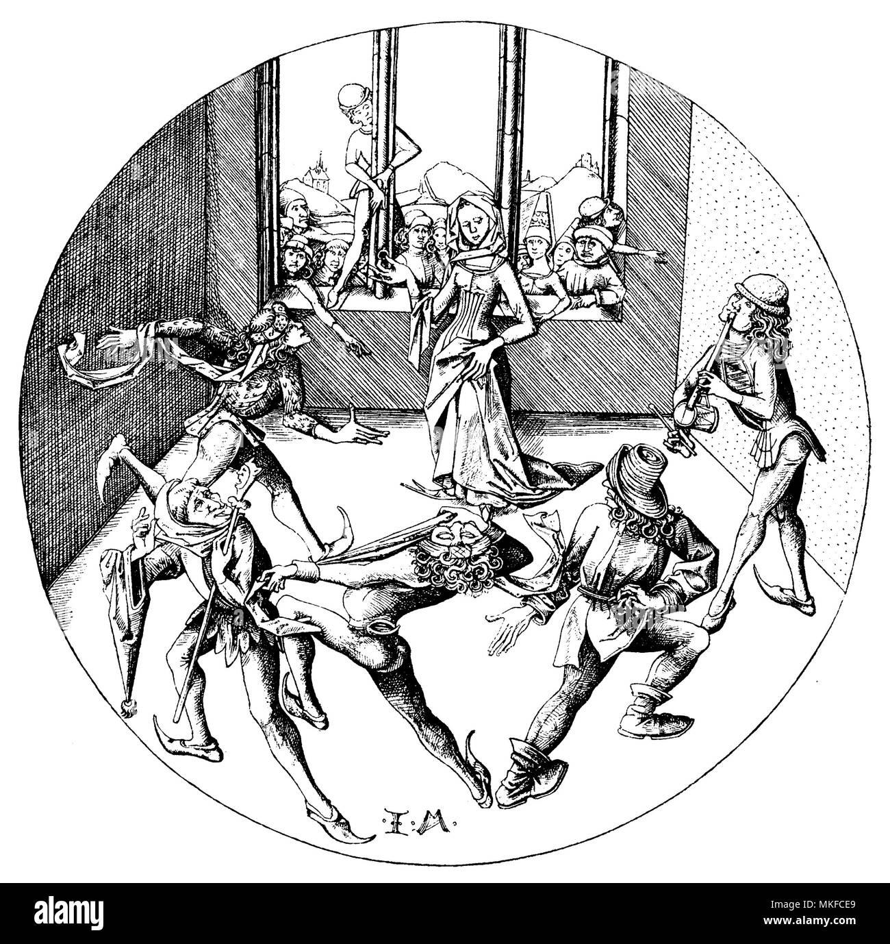 Medieval illustration 'the morris dance' by Israhel van Meckenem, German printmaker of XV century - Stock Image