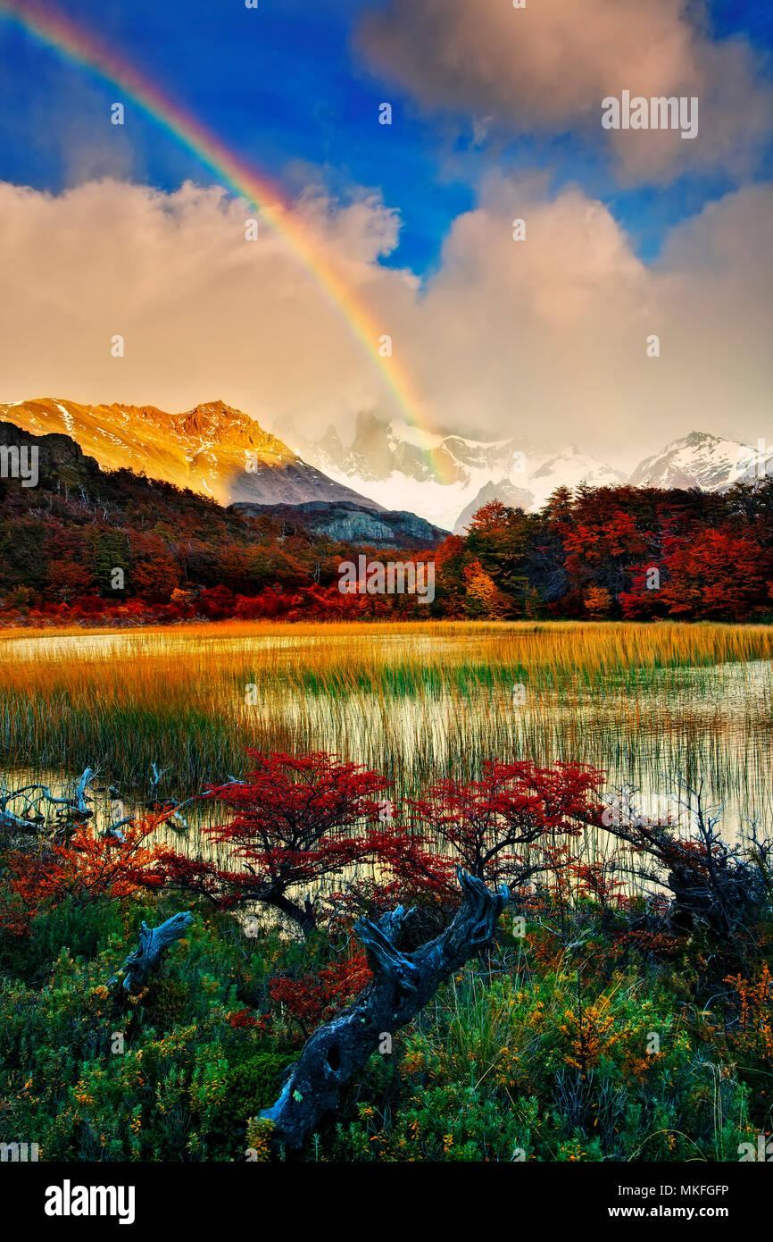 Patagonic Autumn. Autumn Vegetetion and mountain range, Patagonia, Argentina - Stock Image