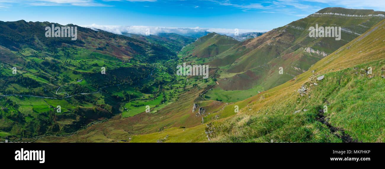 View from Mirador de Covalruyu, Miera Valley, Valles Pasiegos, Cantabria, Spain Stock Photo