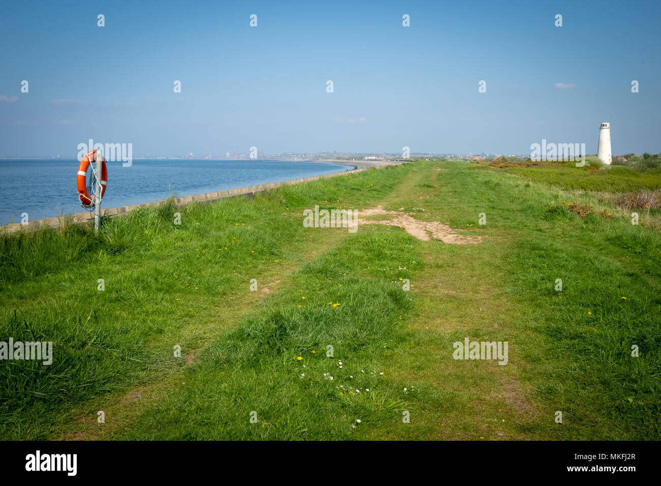 Meols Beach near Hoylake and New Brighton on the Wirral in Cheshire, across the water from Liverpool - Stock Image