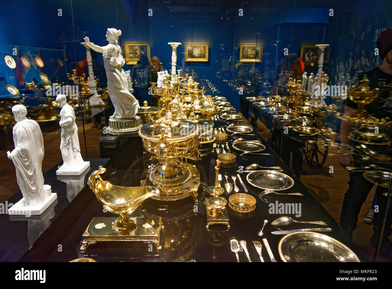 Dinner service from Napoleon's wedding feast in an exhibition in Montreal's Fine Arts Museum - Stock Image