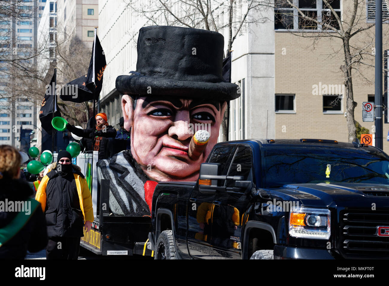 An effigy of Winston Churchill in the Montreal St Patrick's Day parade - Stock Image
