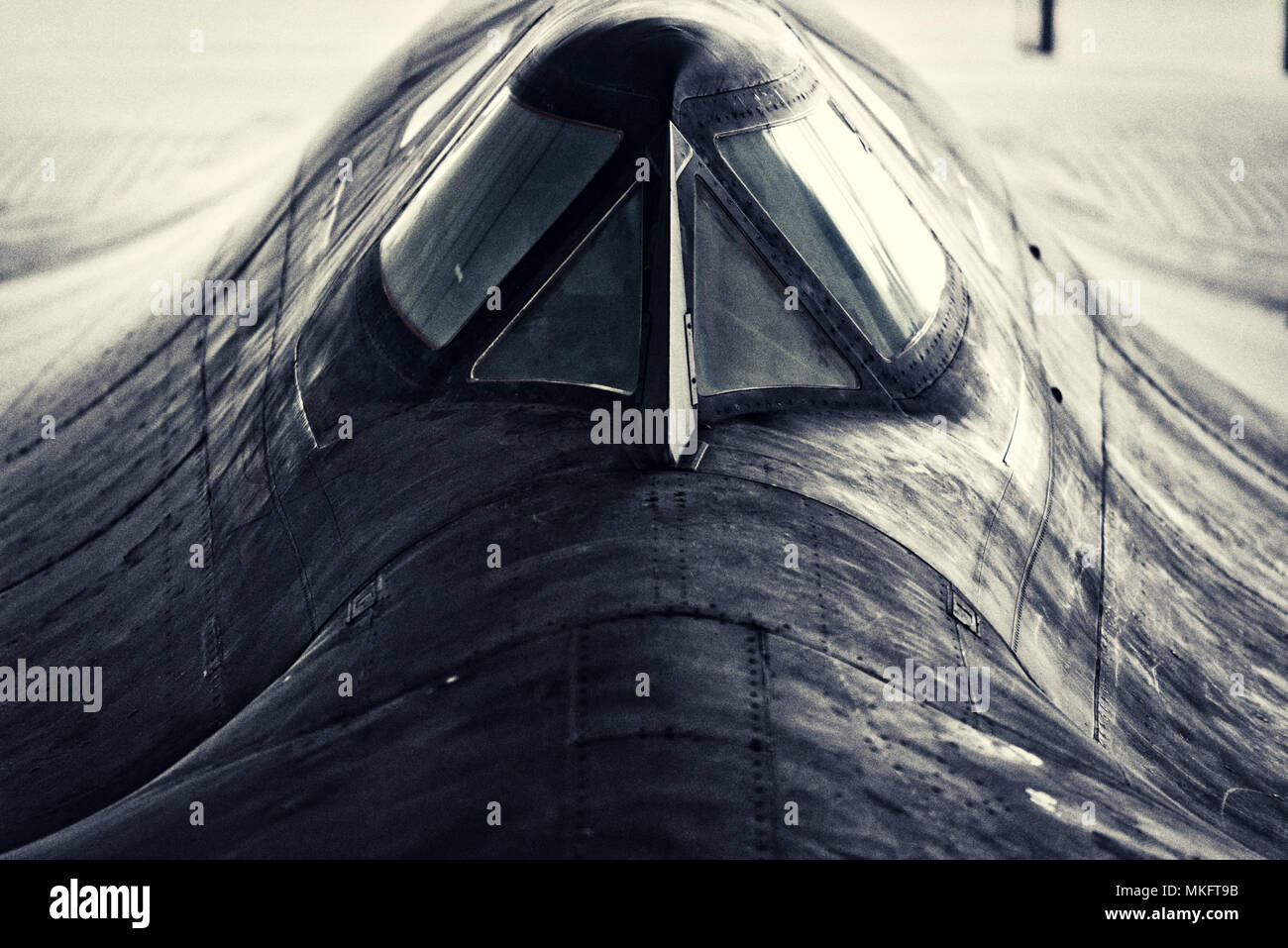 The cockpit canopy of the Lockheed SR-71 Blackbird spy plane