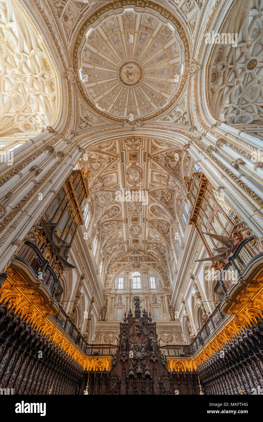 Choir, decorated and gilded choir stalls with vaulted ceilings, Mezquita-Catedral de Córdoba or Cathedral of the Conception of Stock Photo
