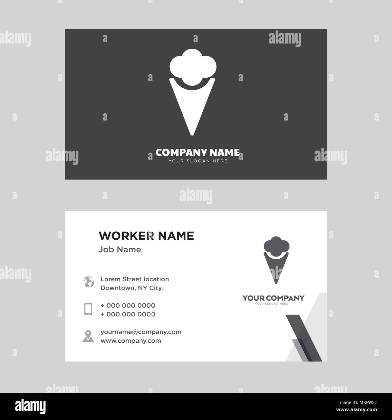 two ice creams business card design template visiting for your