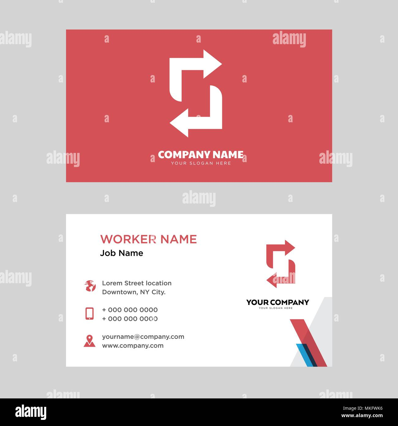Recycle business card design template, Visiting for your company, Modern horizontal identity Card Vector Stock Vector