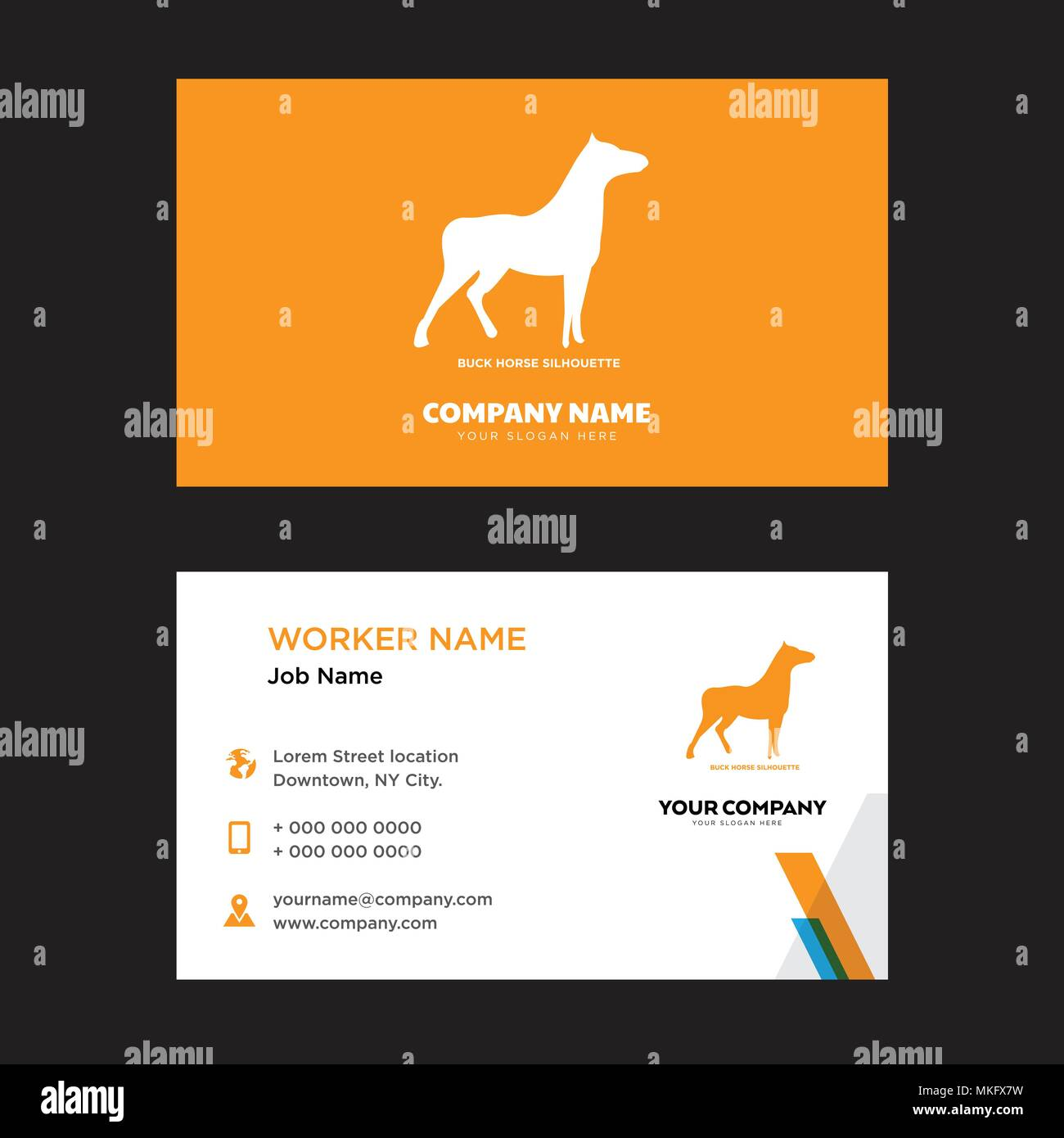 buck horse business card design template, Visiting for your company, Modern horizontal identity Card Vector - Stock Image