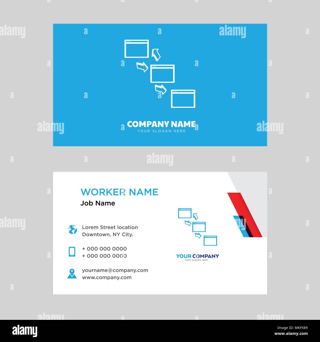 Networking business card design template, Visiting for your company, Modern horizontal identity Card Vector Stock Vector