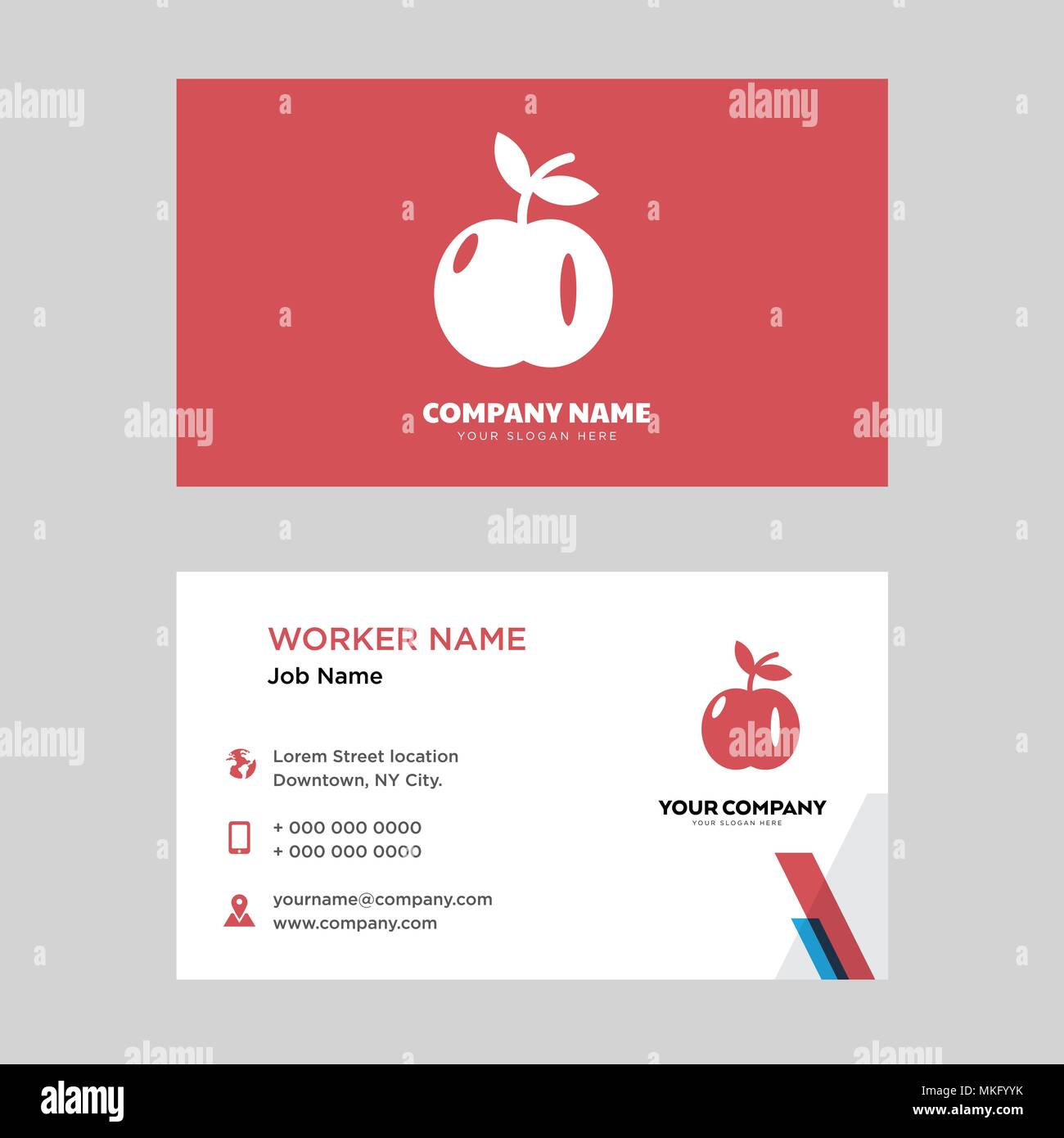 Apple with leaf business card design template visiting for your apple with leaf business card design template visiting for your company modern horizontal identity card vector accmission Choice Image