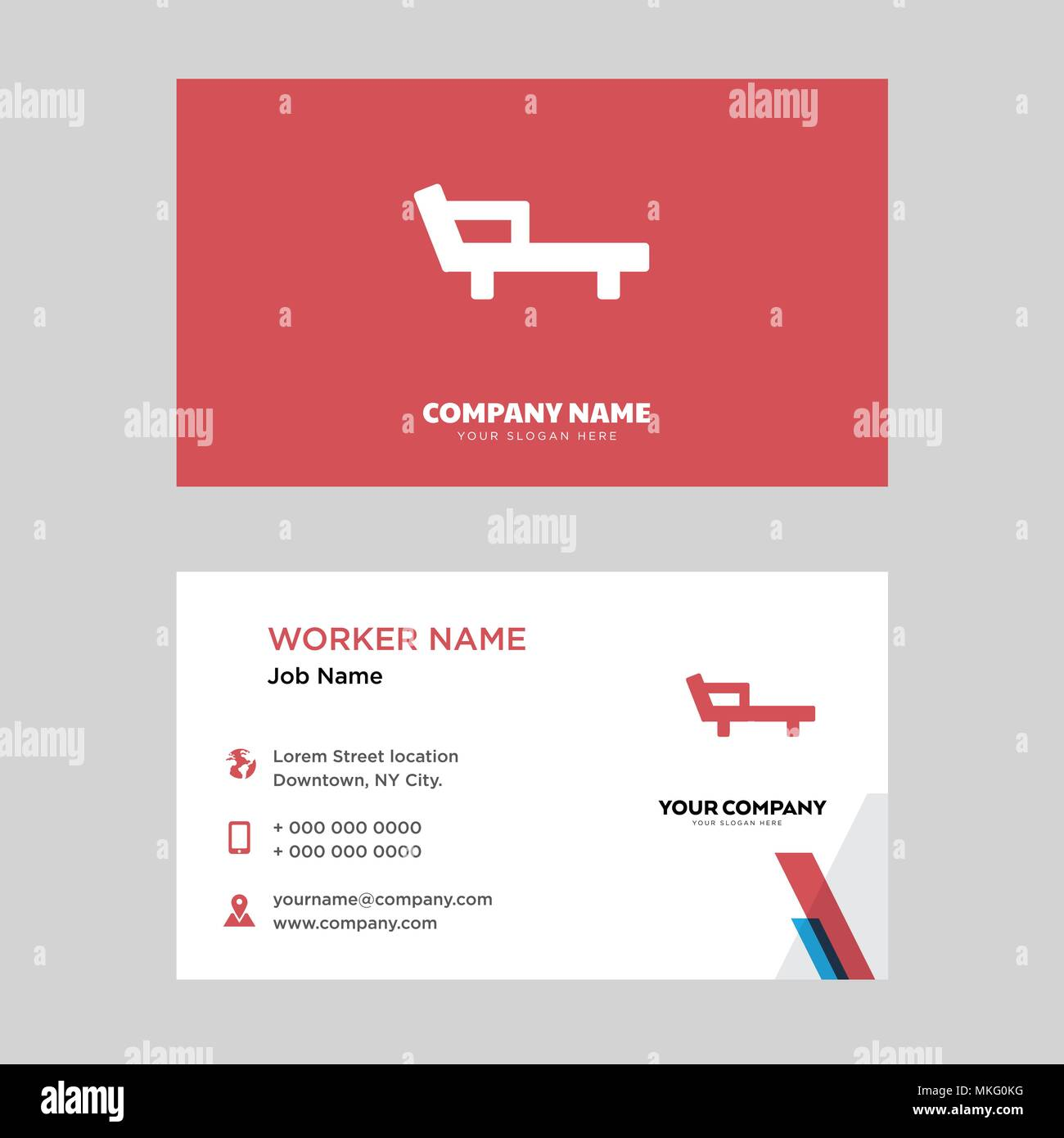 Deck Chair Business Card Design Template Visiting For Your Company