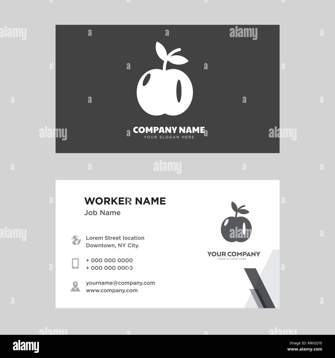 Apple with leaf business card design template visiting for your apple with leaf business card design template visiting for your company modern horizontal identity card vector friedricerecipe Choice Image