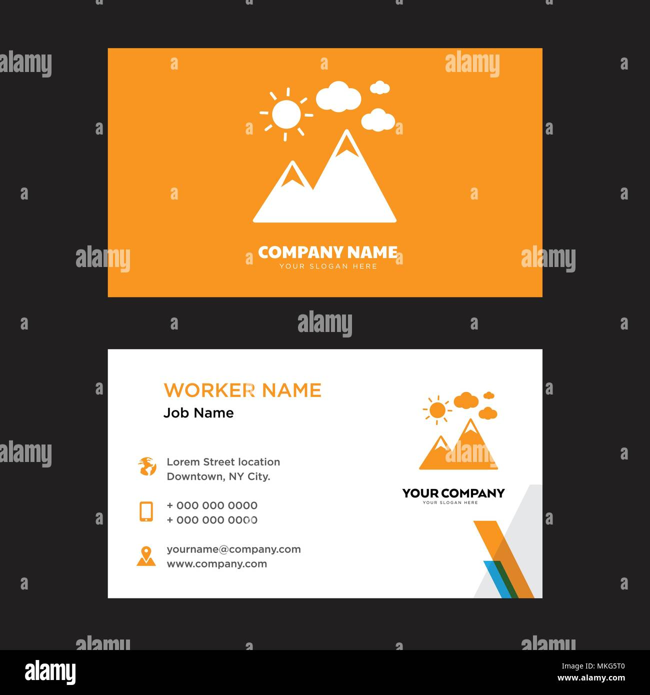 Mountaint Landscape Business Card Design Template Visiting For Your