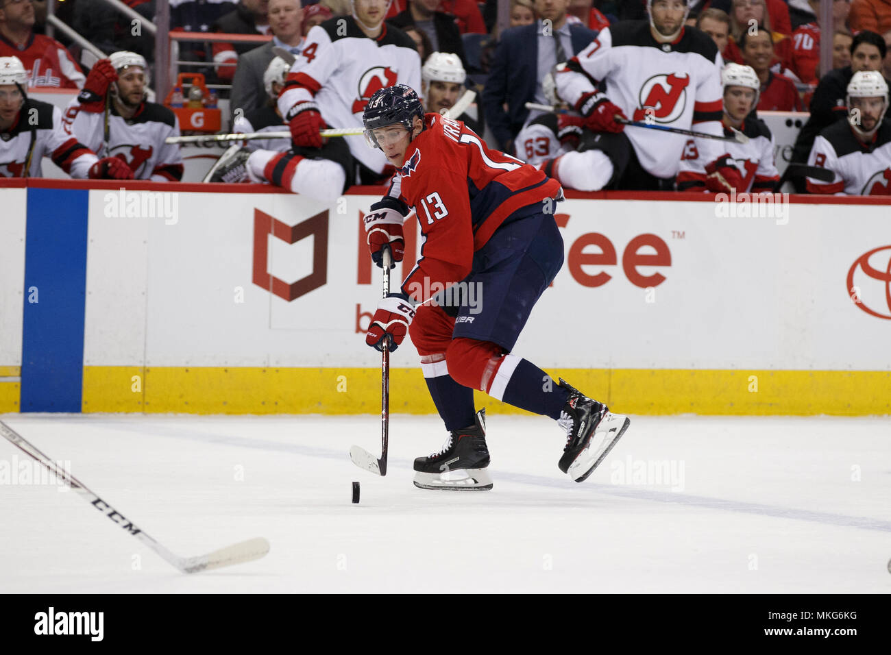 the latest dc7bc c6763 Washington Capitals left wing Jakub Vrana (13) carries the ...
