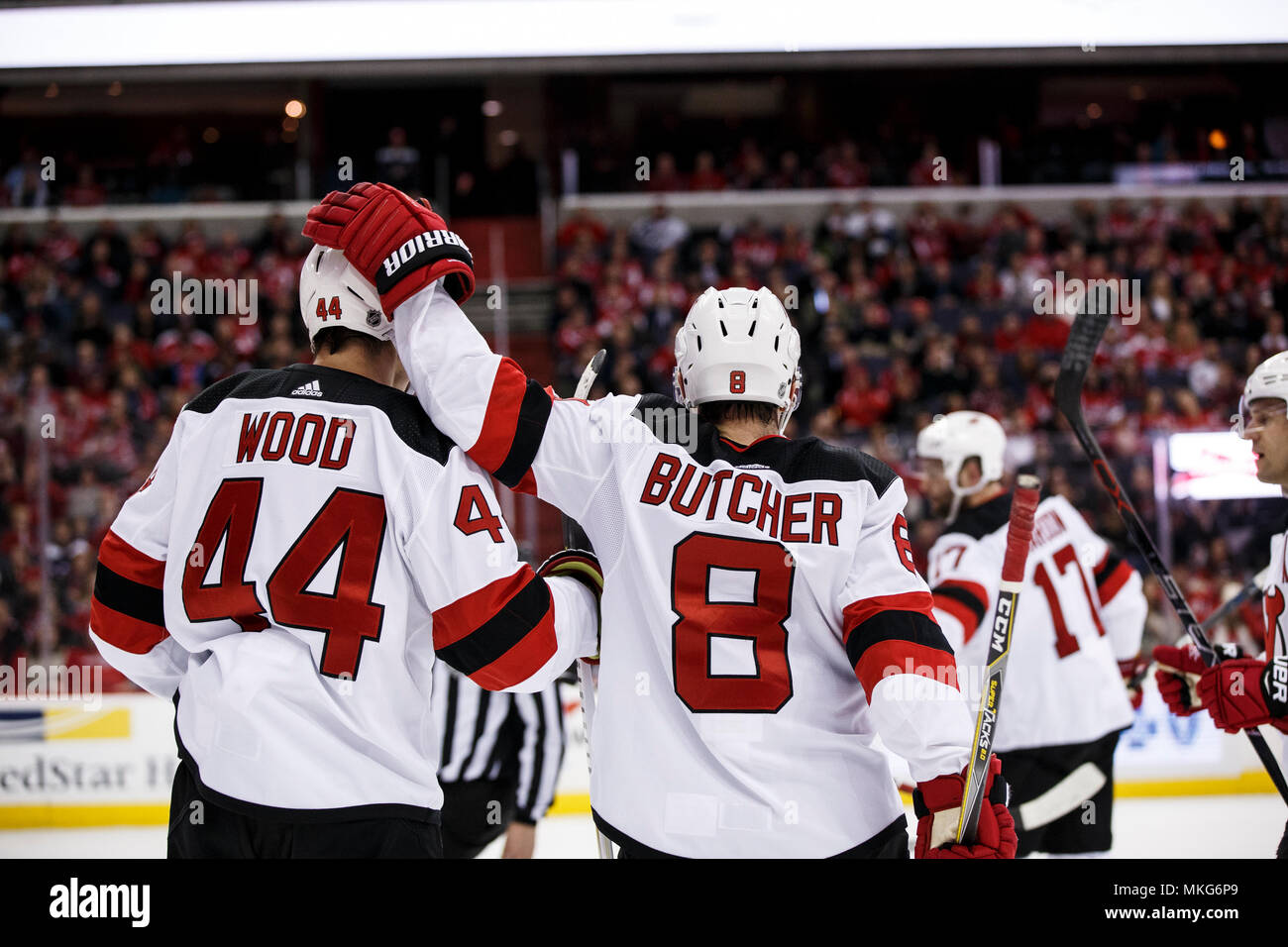 new product 52fb6 a63a2 New Jersey Devils left wing Miles Wood (44) and New Jersey ...