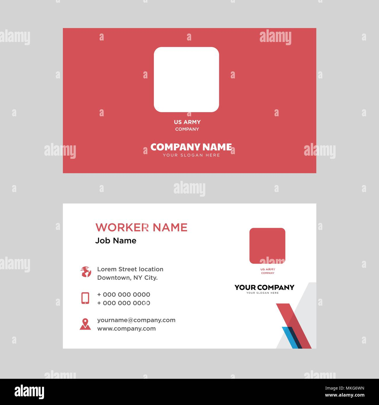 Us Army Business Card Design Template Visiting For Your Company Modern Horizontal Identity Card Vector Stock Vector Image Art Alamy