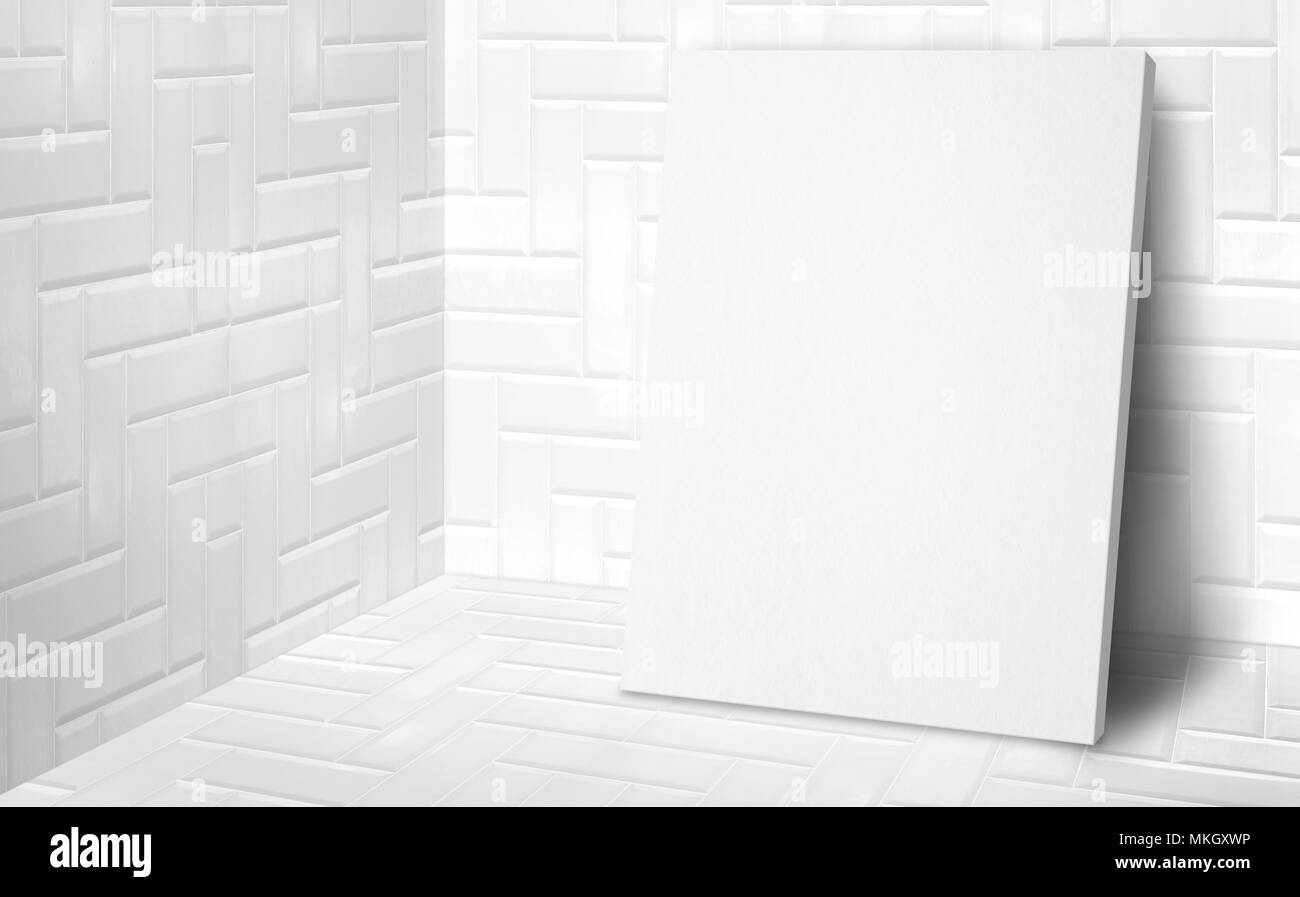 Blank poster at corner studio room with white tiles wall and floor background,Mock up studio room for display or montage of product for advertising on - Stock Image